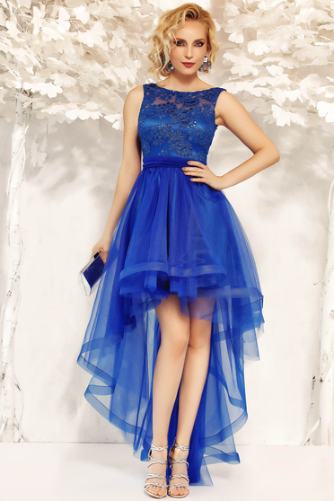 Fofy blue occasional asymmetrical cloche dress accessorized with tied waistband