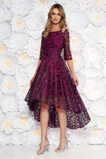 Purple asymmetrical evening dresses dress from laced fabric with sequin embellished details with inside lining