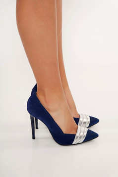 Darkblue shoes elegant natural leather slightly pointed toe tip