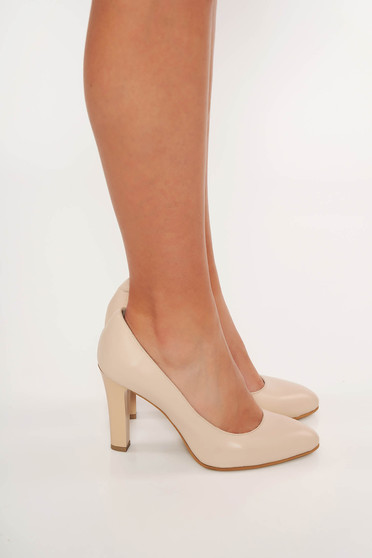 Nude elegant shoes natural leather with high heels slightly pointed toe tip