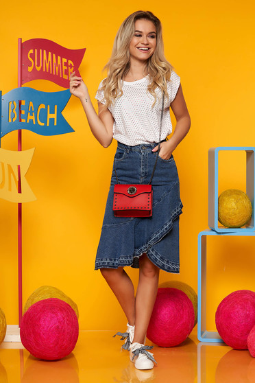 Blue casual cotton high waisted skirt with ruffle details