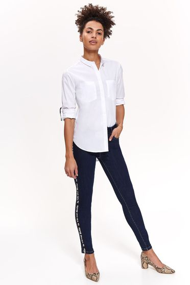 Top Secret darkblue casual trousers with medium waist slightly elastic cotton with tented cut