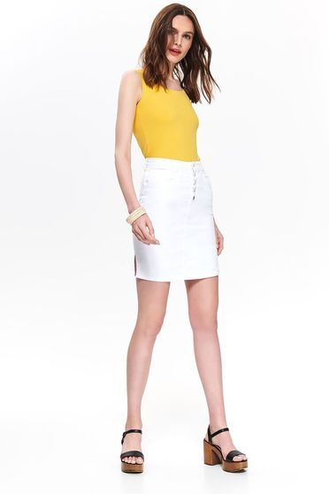 Top Secret yellow casual top shirt slightly elastic cotton with tented cut