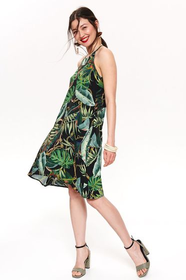 Top Secret black daily sleeveless a-line dress airy fabric with floral prints