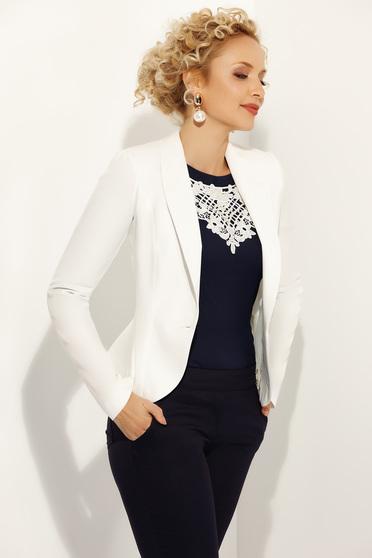 Fofy white jacket elegant tented long sleeve slightly elastic fabric