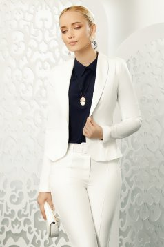 White jacket elegant tented long sleeve slightly elastic fabric