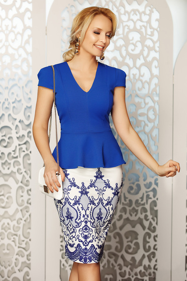 Fofy blue elegant women`s blouse with v-neckline with tented cut with frilled waist