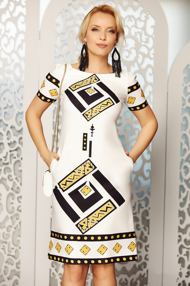 Fofy white elegant daily a-line dress with pockets soft fabric with graphic details