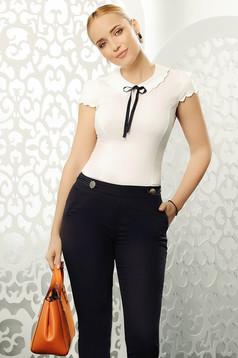 Fofy white elegant tented women`s shirt elastic cotton short sleeves