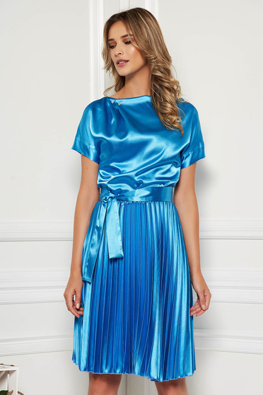 StarShinerS blue dress elegant cloche midi from satin accessorized with tied waistband folded up