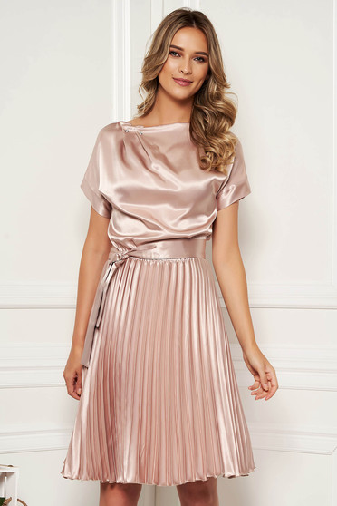 StarShinerS cream dress elegant cloche midi from satin accessorized with tied waistband folded up