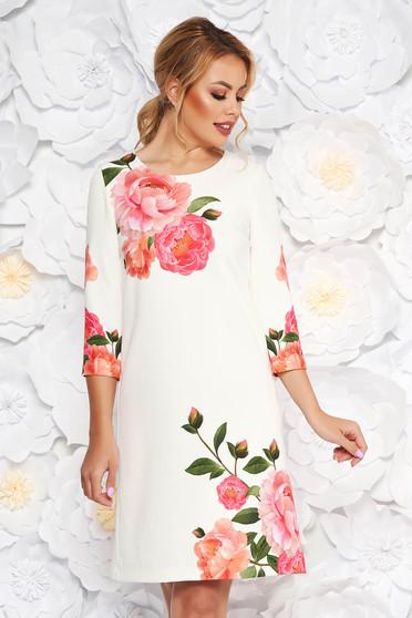 StarShinerS ivory elegant flared dress with 3/4 sleeves slightly elastic fabric
