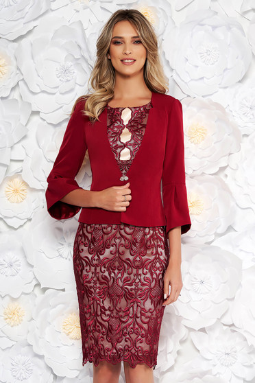 Burgundy elegant lady set from 2 pieces with dress