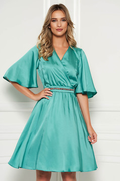 StarShinerS green dress elegant daily midi from satin flaring cut with v-neckline with butterfly sleeves