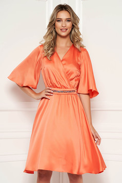 StarShinerS orange dress elegant daily midi from satin flaring cut with v-neckline with butterfly sleeves
