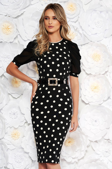 PrettyGirl black elegant pencil dress with pearls accessorized with tied waistband