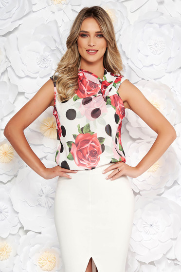PrettyGirl white elegant women`s blouse from veil fabric dots print with easy cut