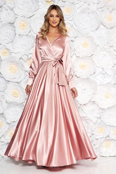 LaDonna lightpink occasional long cloche dress elastic waist from satin fabric texture