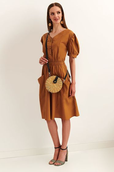 Top Secret lightbrown daily cloche dress cotton with elastic waist short sleeves