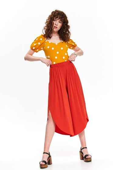 Orange trousers casual high waisted cut material