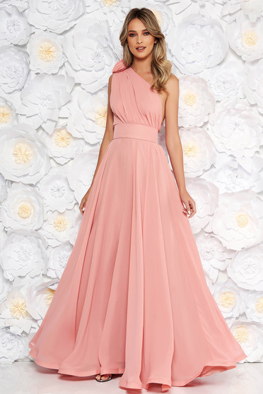 Ana Radu lightpink occasional cloche dress from veil fabric accessorized with tied waistband