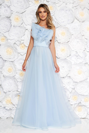 Ana Radu lightblue dress luxurious from tulle with inside lining with ruffles on the chest one shoulder
