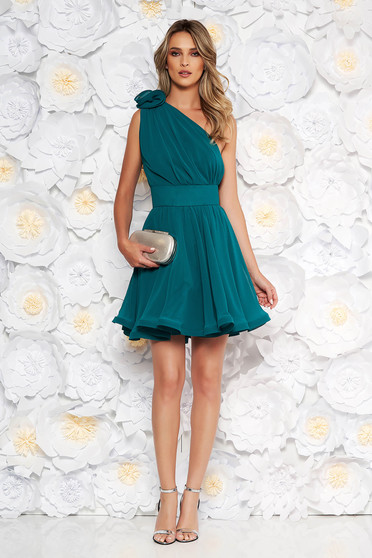 Ana Radu dirty green dress luxurious from veil fabric with inside lining cloche accessorized with tied waistband