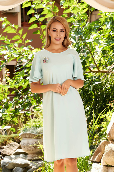 StarShinerS mint dress elegant daily straight with butterfly sleeves accessorized with breastpin