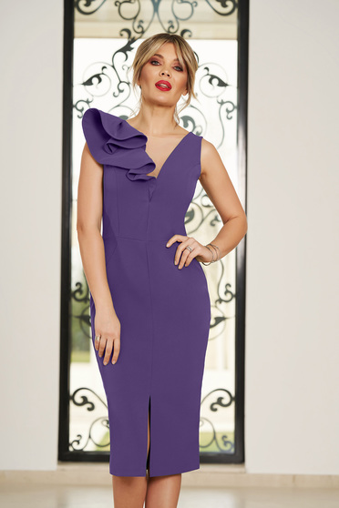 StarShinerS purple occasional dress with v-neckline with tented cut slightly elastic fabric with ruffle details