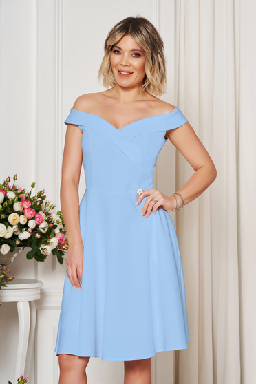 StarShinerS lightblue occasional elegant cloche dress with a cleavage off shoulder flexible thin fabric/cloth