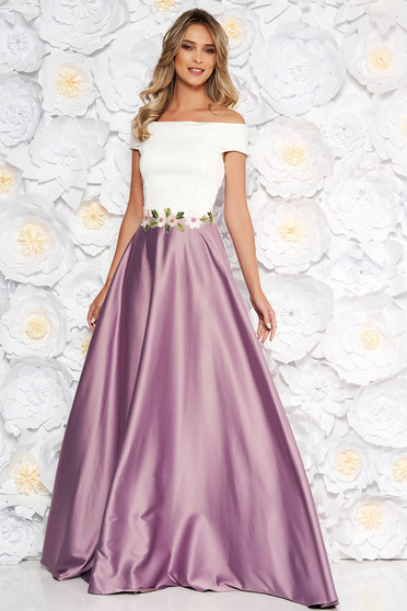 Artista lila dress with embroidery details from satin fabric texture occasional cloche