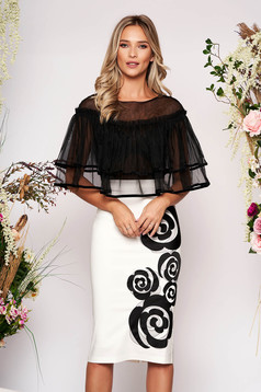 LaDonna white occasional pencil midi dress with ruffles on the chest