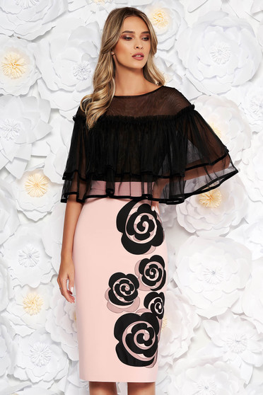 LaDonna rosa occasional pencil midi dress with ruffles on the chest