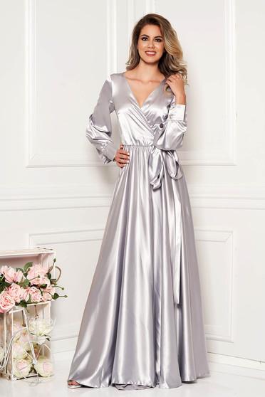 LaDonna grey occasional long cloche dress elastic waist from satin fabric texture
