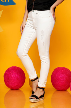Top Secret white casual high waisted trousers slightly elastic cotton