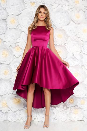Purple occasional asymmetrical cloche dress from satin fabric texture sleeveless