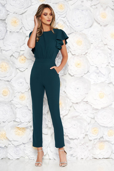 Dirty green occasional jumpsuit with tented cut from elastic fabric with cut back with pockets