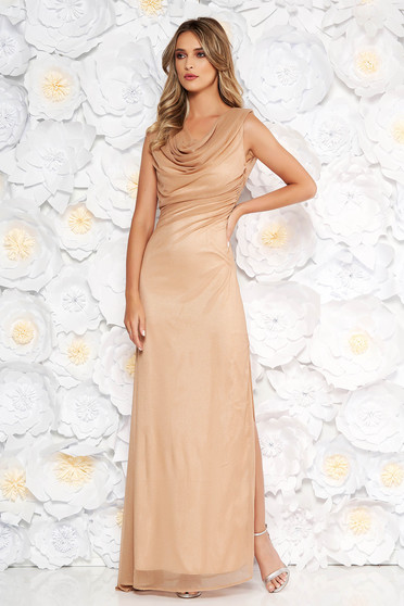 Gold occasional dress with tented cut transparent fabric with glitter details with inside lining