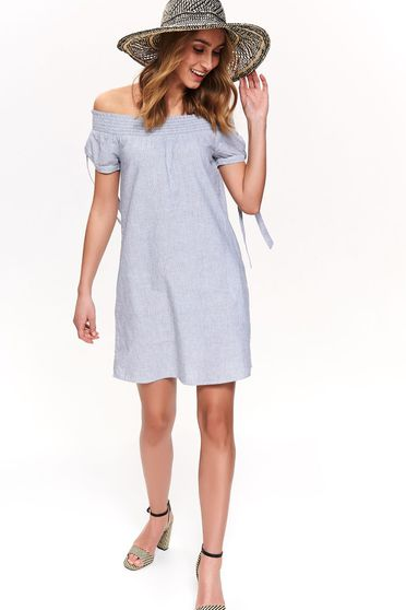 Top Secret blue daily cotton dress with easy cut short sleeve off shoulder