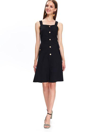 Top Secret black casual a-line cotton dress accessorized with belt
