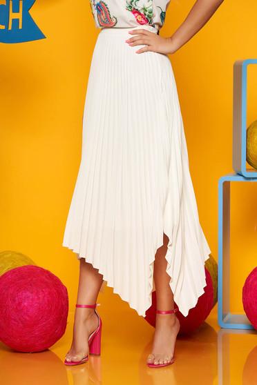 Cream elegant asymmetrical folded up cloche skirt high waisted