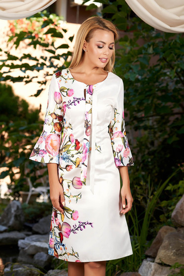 White daily 3/4 sleeve dress a-line nonelastic cotton with floral prints