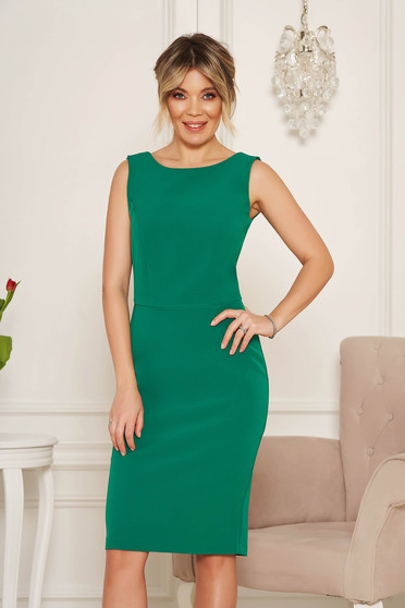 StarShinerS basic green pencil with cut back dress elegant midi