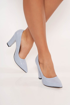 Lightblue shoes chunky heel office from ecological leather slightly pointed toe tip
