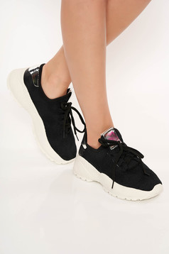 Black sneakers with lace