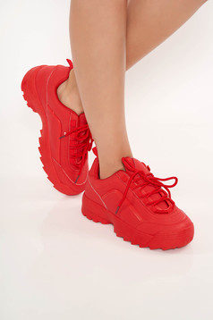 Red sneakers casual with lace