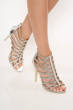 Silver sandals with crystal embellished details