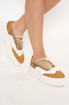 Cappuccino shoes casual with lace from ecological leather