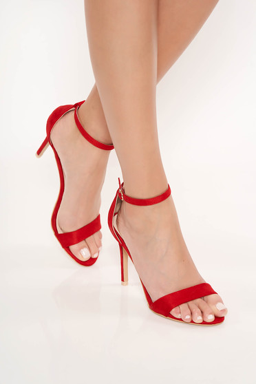 Red sandals occasional from ecological leather with thin straps with high heels