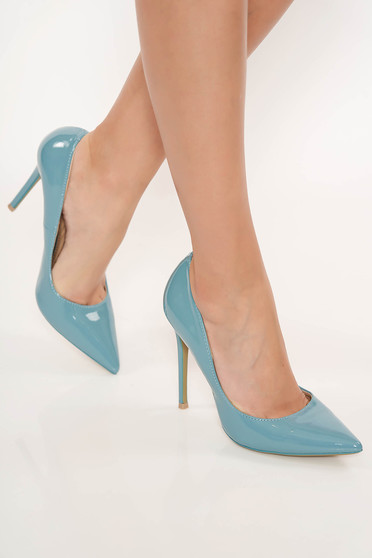 Blue with high heels elegant shoes slightly pointed toe tip stiletto from ecological leather
